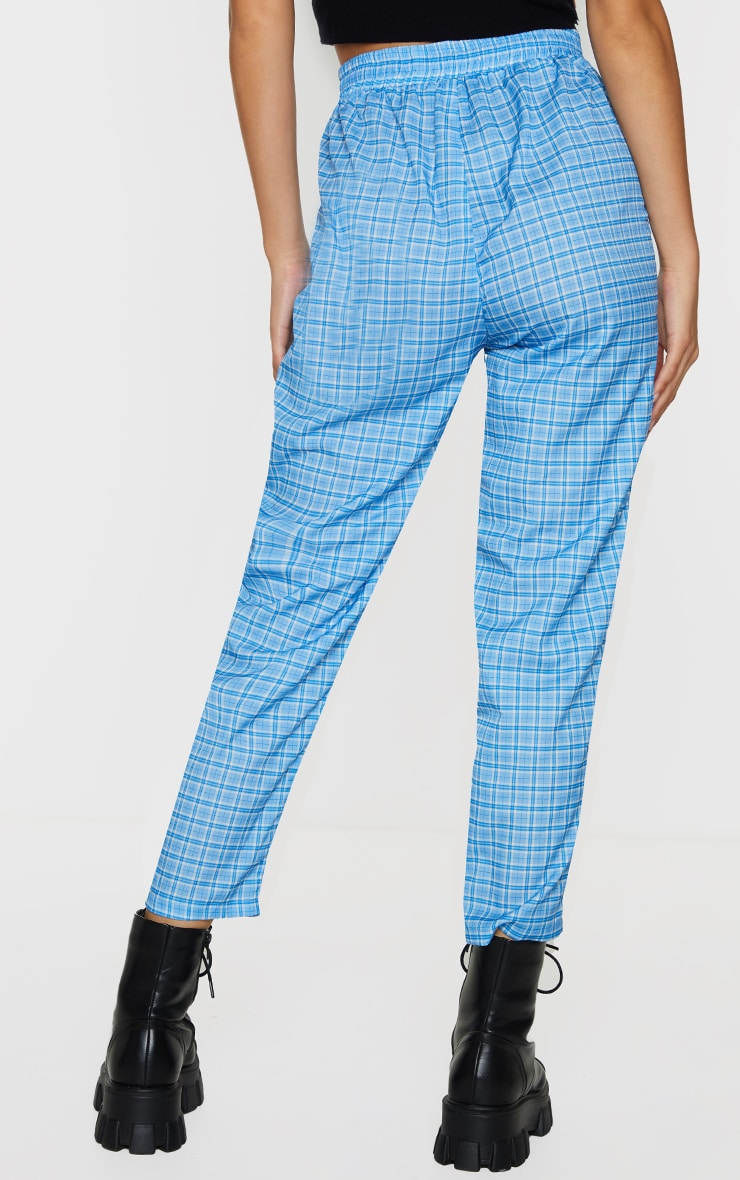 Blue Checked Casual Pants 3