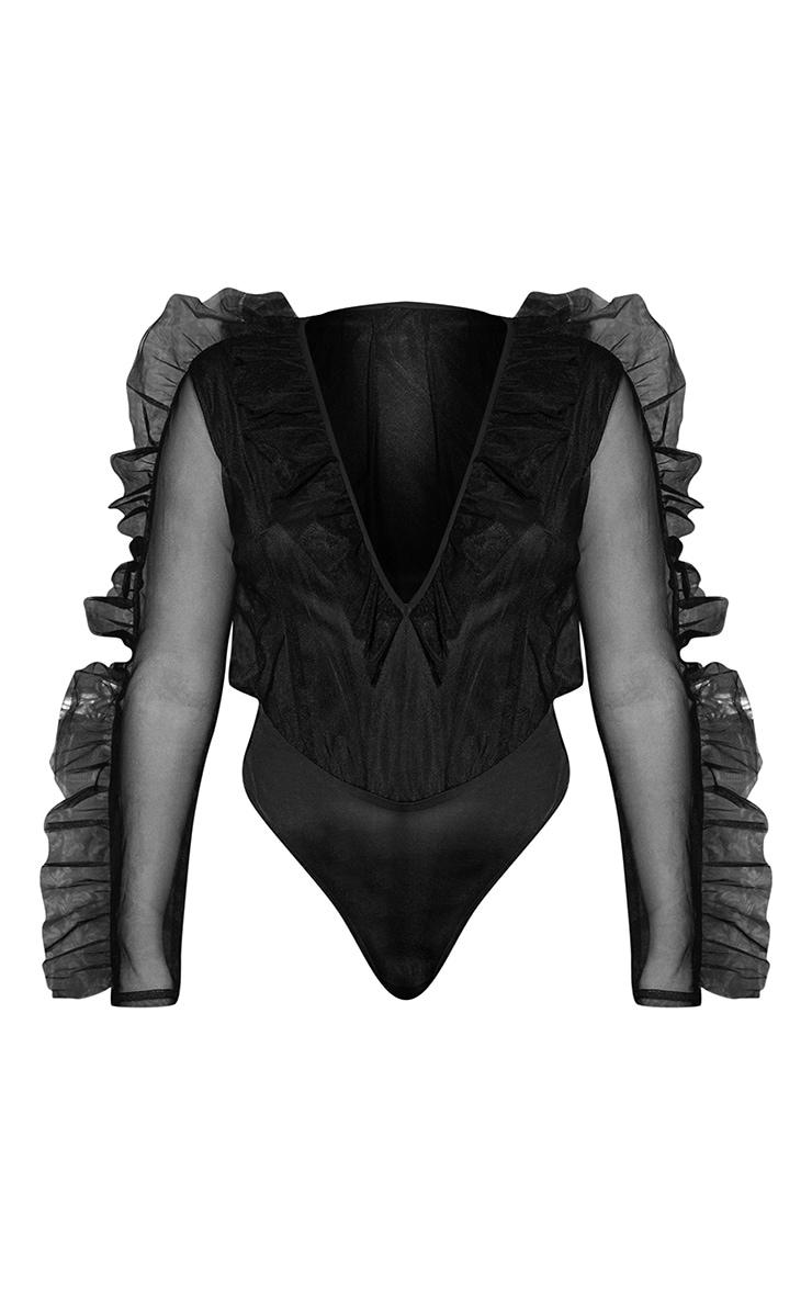 Black Mesh Plunge Front Bodysuit 3