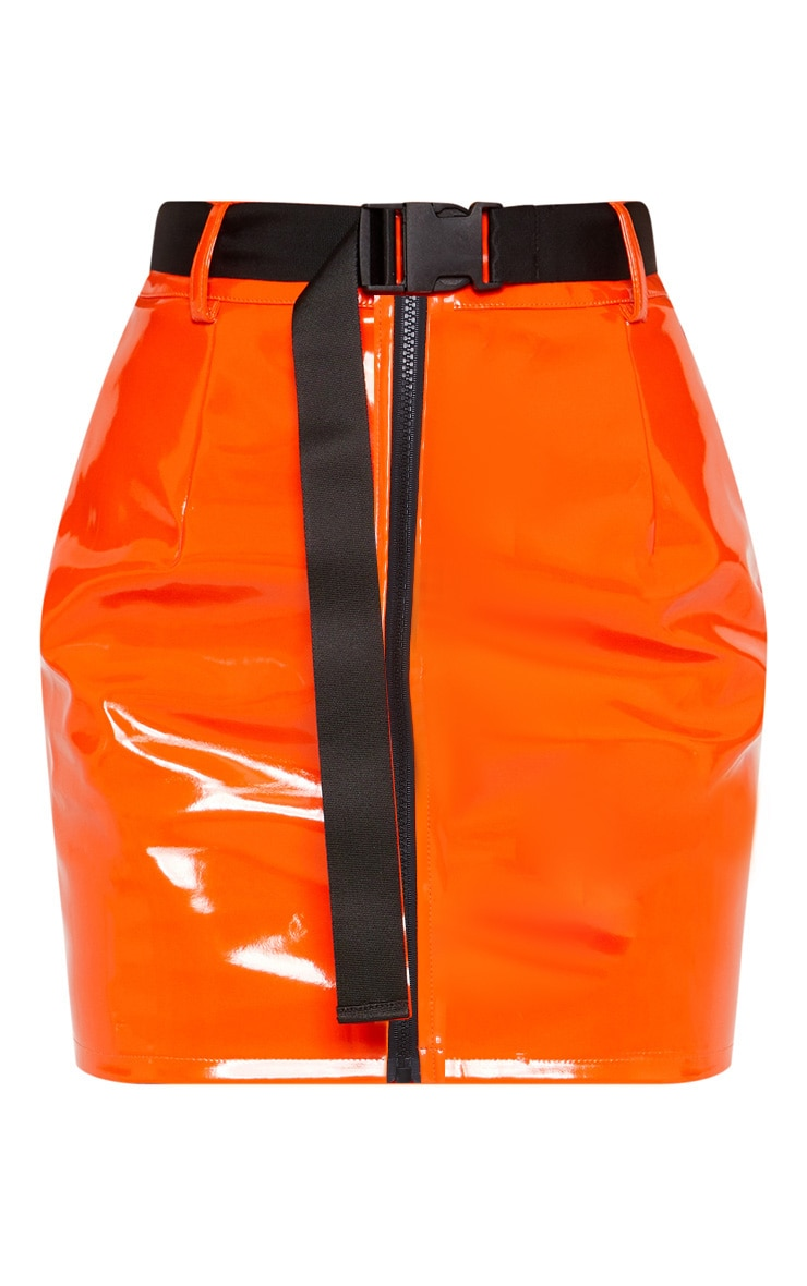 Orange Vinyl Zip Detail Belted Mini Skirt 4