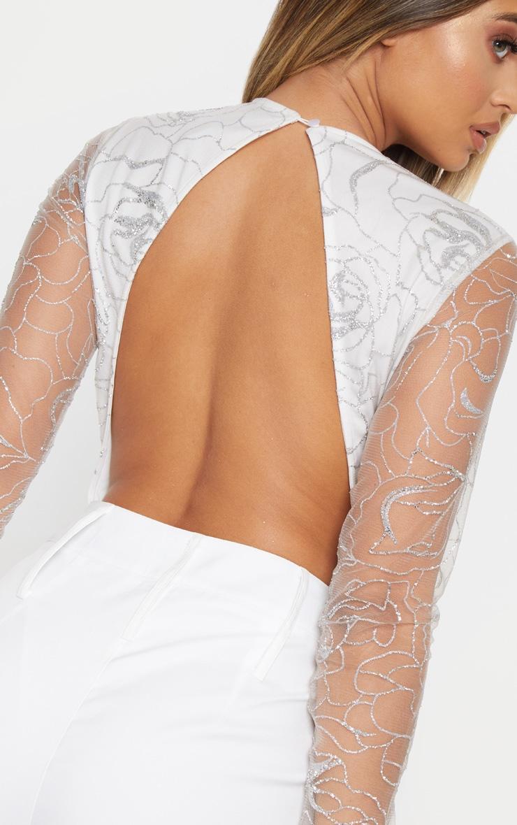 White Backless Long Sleeve Glitter Bodysuit 6