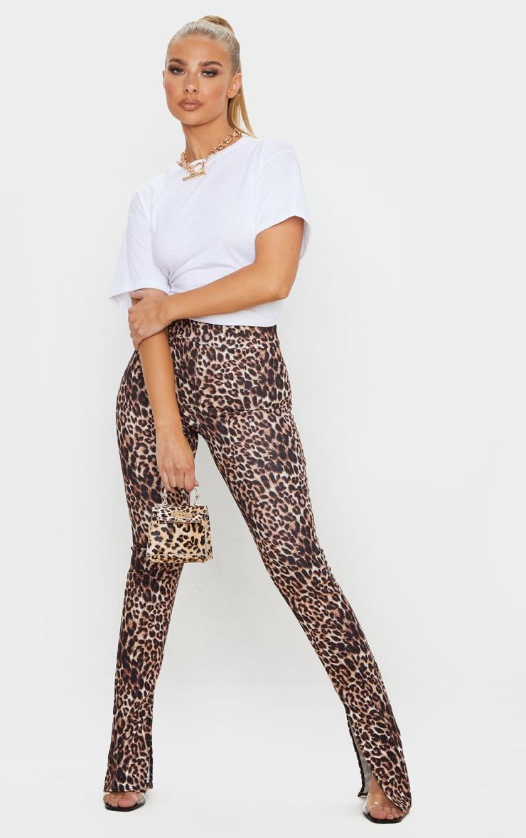 Stone Leopard Split Hem Skinny Pants 1