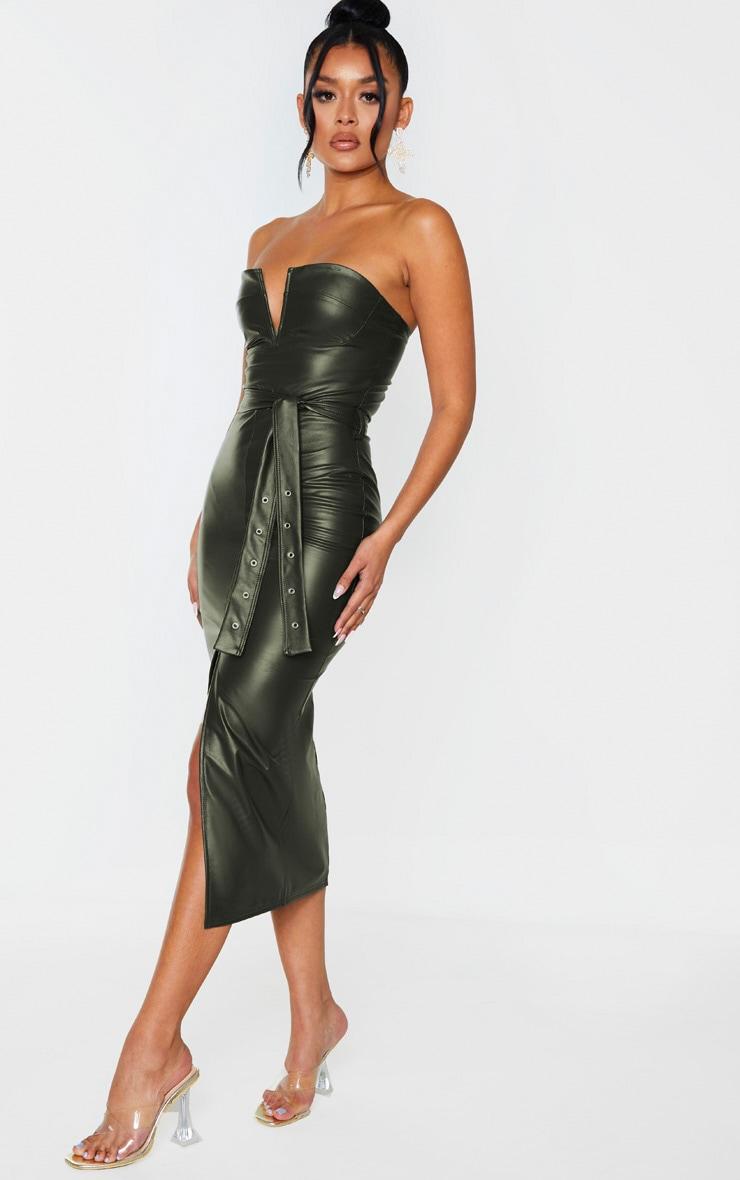 Khaki PU Bandeau Belted Split Detail Midi Dress 4