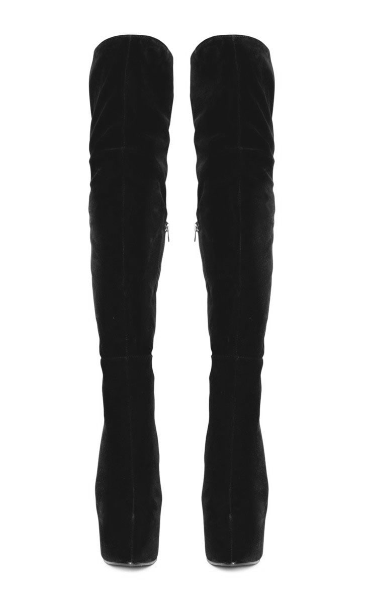 Izzy Black Suedette Over The Knee Boots 3