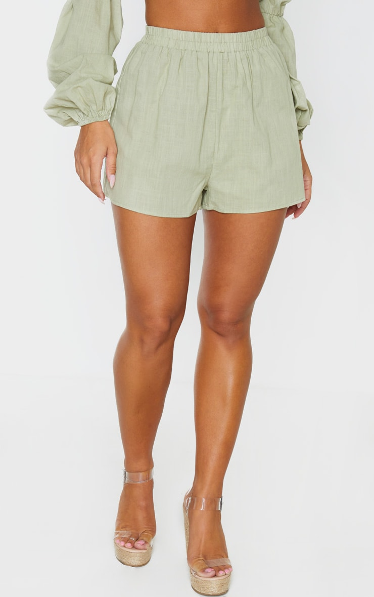 Pale Khaki Linen Look Elasticated Beach Shorts 2