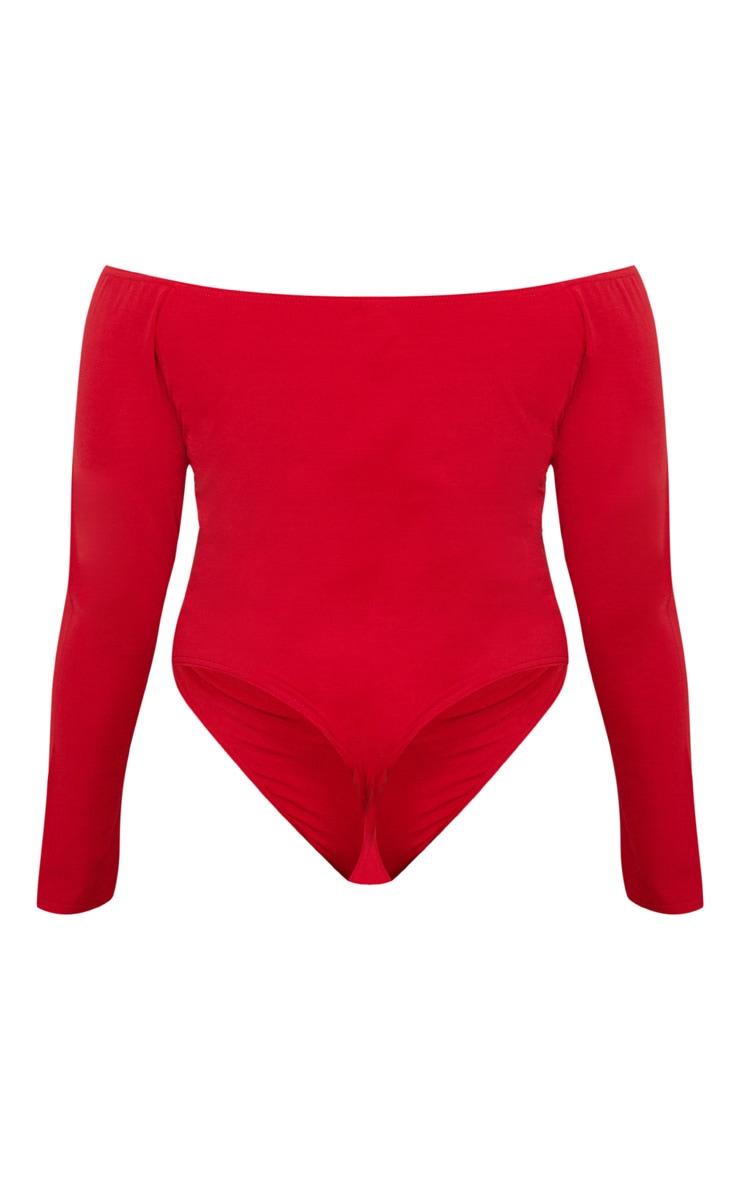Plus Red Slinky Twist Front Bardot Bodysuit 4