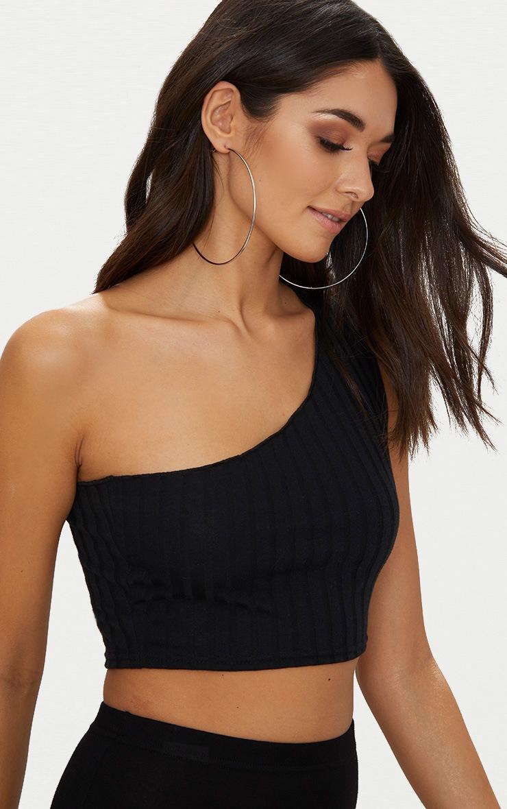 Black Rib Knit Asymmetric Top 5