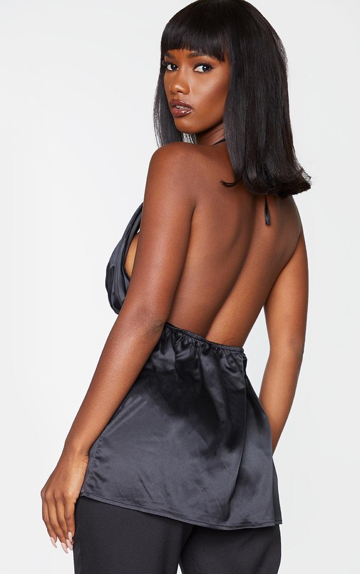 Black Satin Pleated Bust Halterneck Cami Top 2