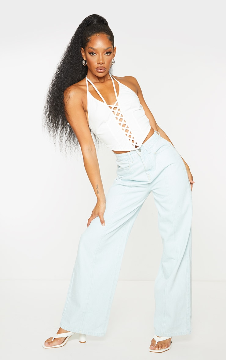 White Woven Halterneck Lace Up Front Curved Hem Crop Top 3