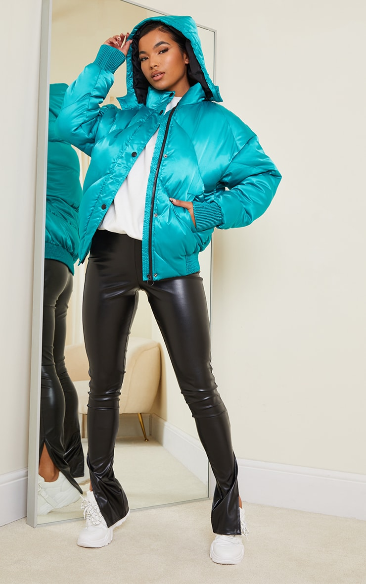 Green Satin Quilted Cuff Hem Puffer Jacket 3