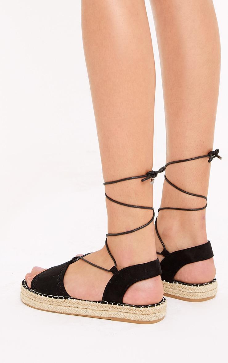 Rosina Black Lace Up Espadrille Sandals 4