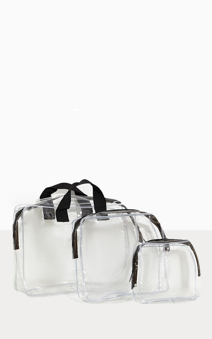 3 Piece Clear Travel Makeup Bags