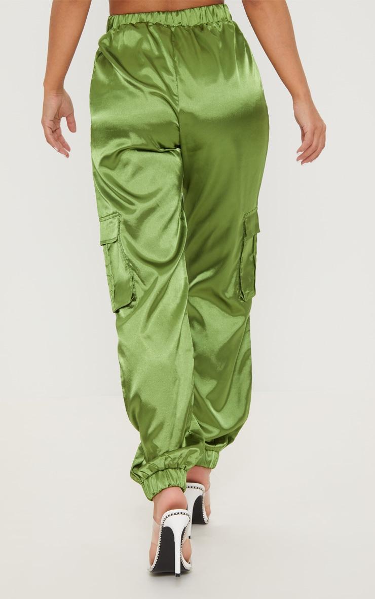 Petite Olive Satin Cargo Trousers 4