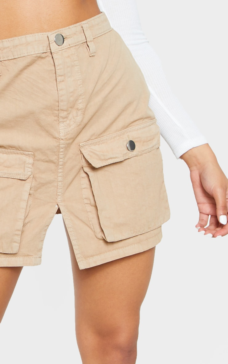 Pocket Detail Stone Denim Skirt  6