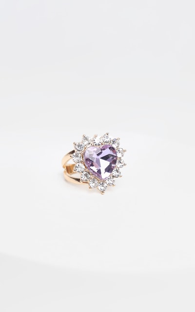 Lilac Crystal Heart Shape Cocktail Ring