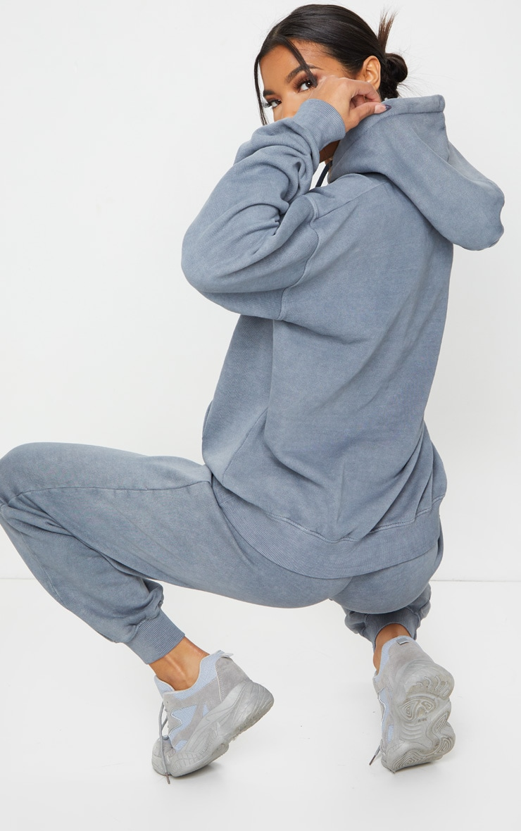 Charcoal Grey Oversized Washed Hoodie 2