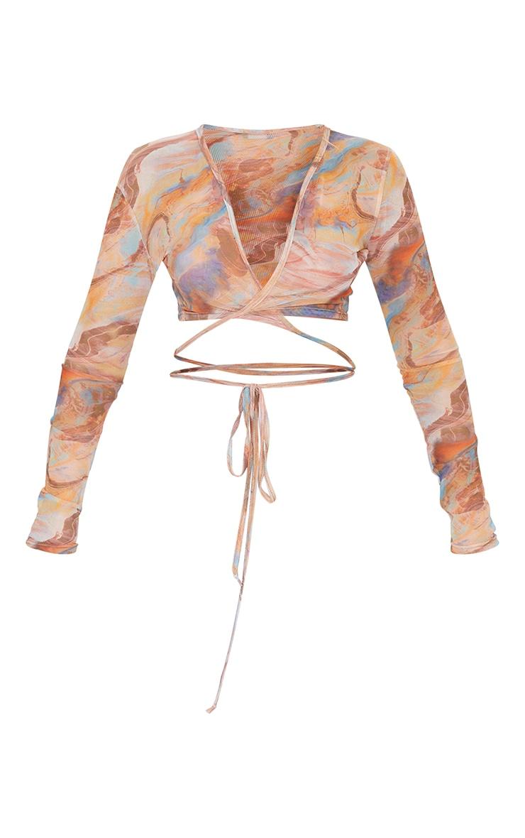 Nude Abstract Printed Mesh Tie Detail Long Sleeve Crop Top 5