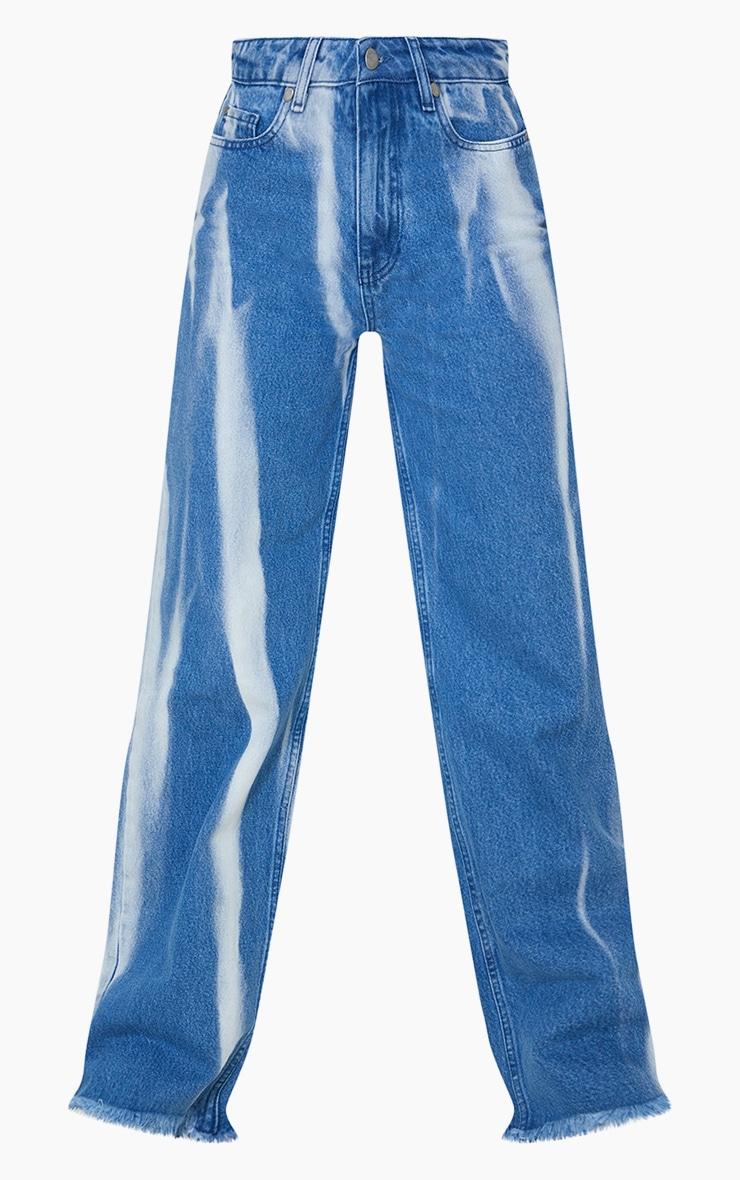 Mid Blue Wash High Waist Tie Dye Wide Leg Jeans 5