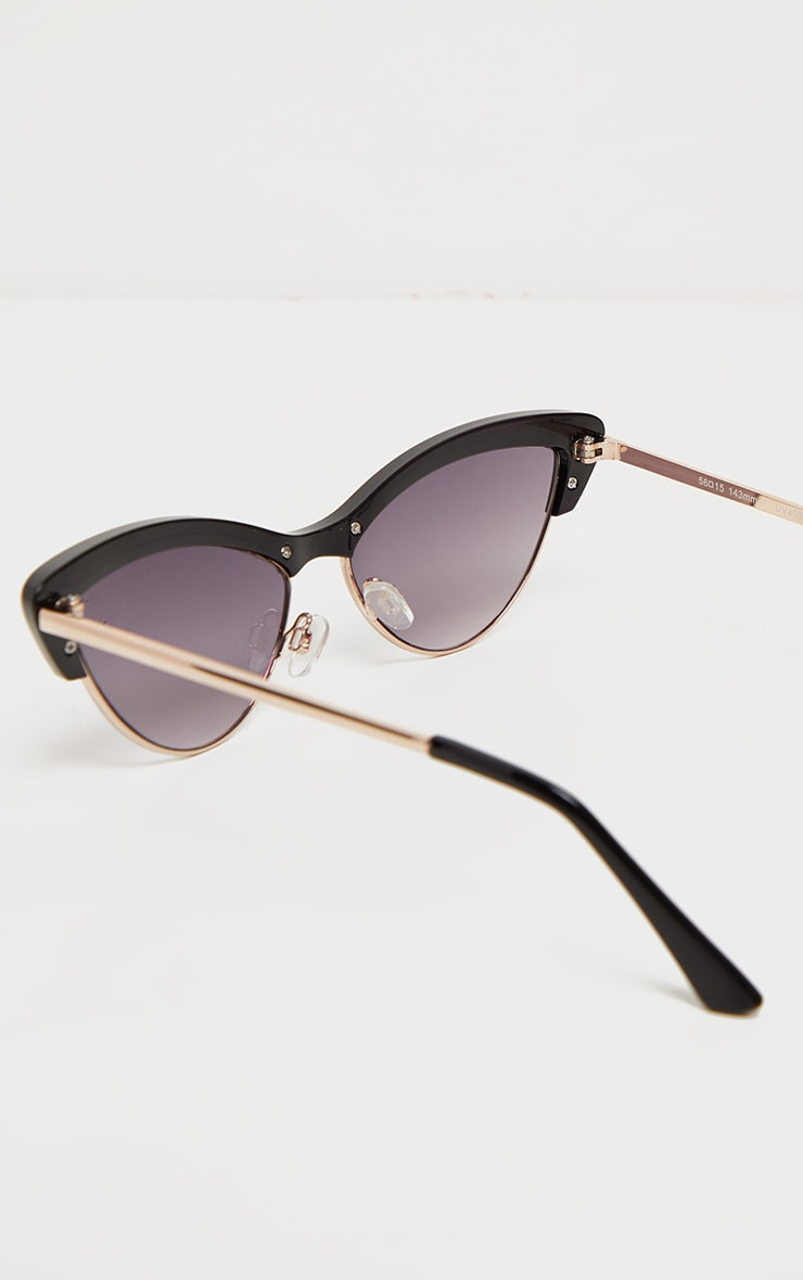 Black Half Frame Cat Eye Sunglasses 3
