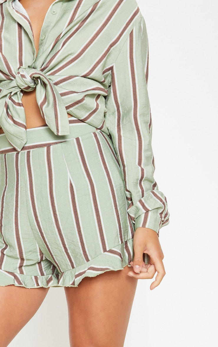 Petite Sage Green Stripe Frill Hem Short  5
