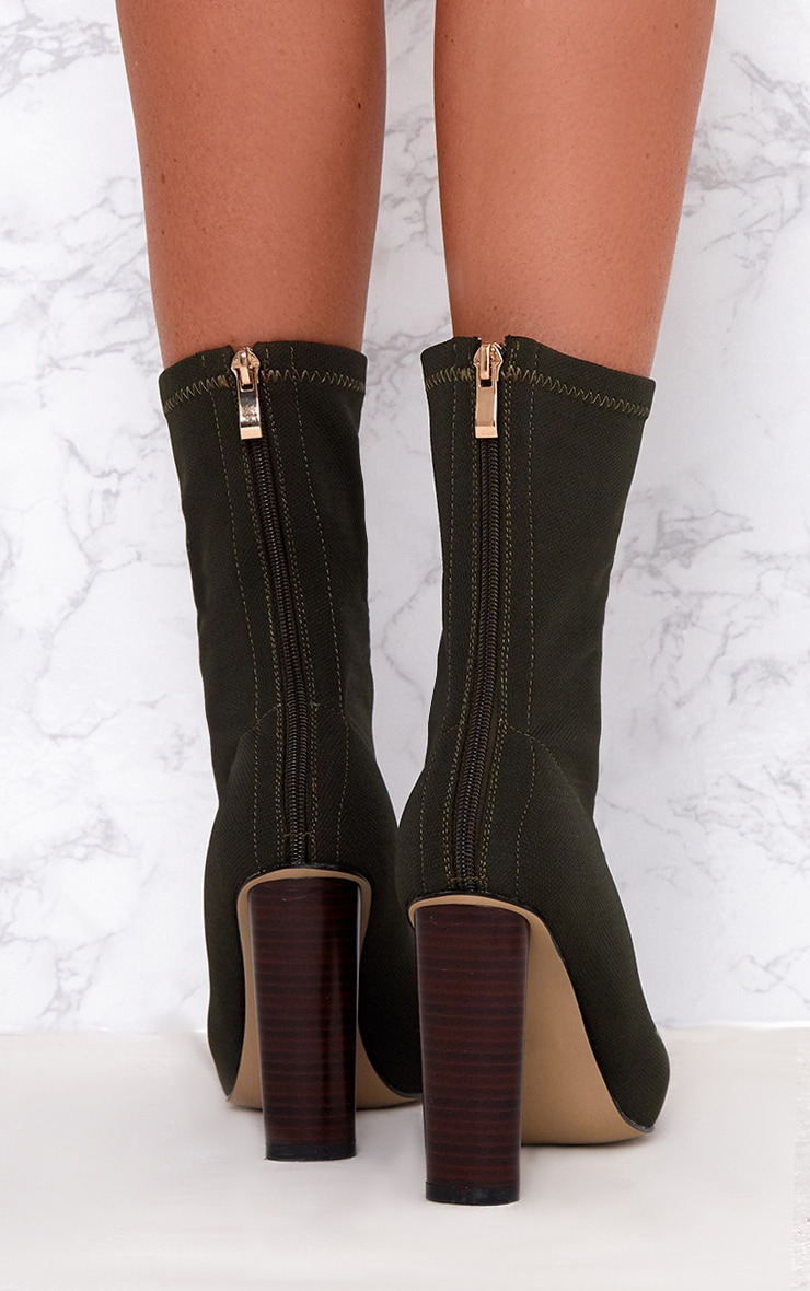 Khaki Woven Sock Heeled Boots  4