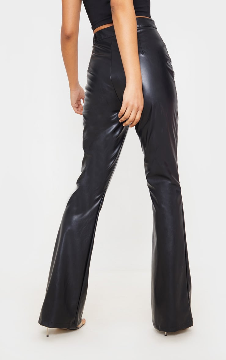 Black PU Flared Detail Trousers 4