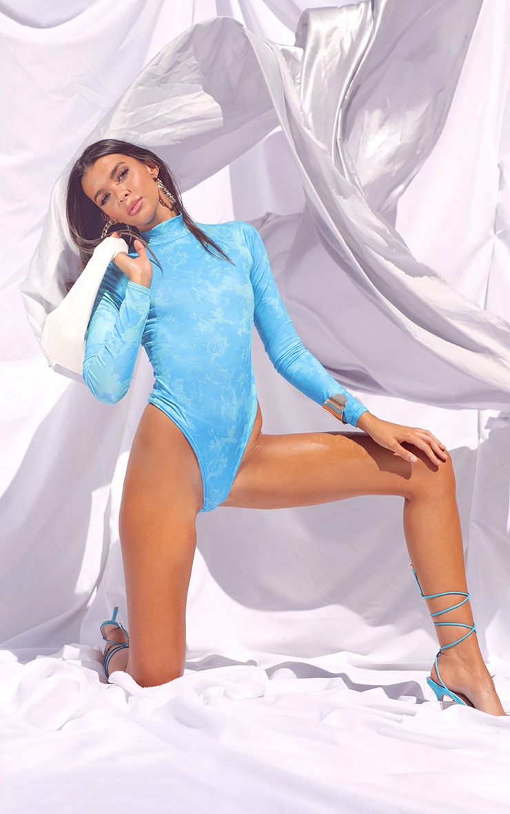 Aqua Slinky Tie Dye Cut Out Back Detail Long Sleeve Bodysuit 3