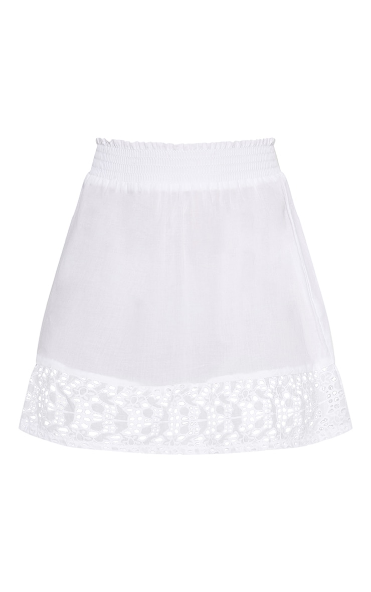 White Broderie Frill Hem Mini Skirt 3