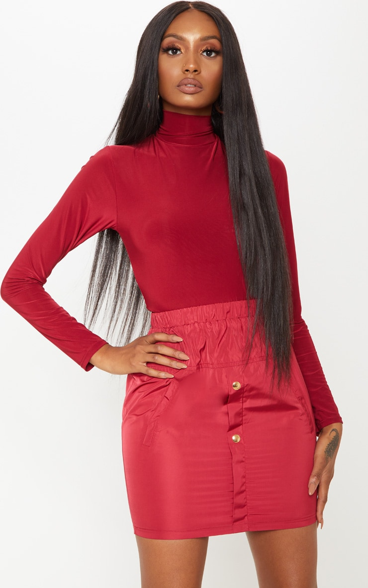 Burgundy Long Sleeve Slinky Roll Neck Top