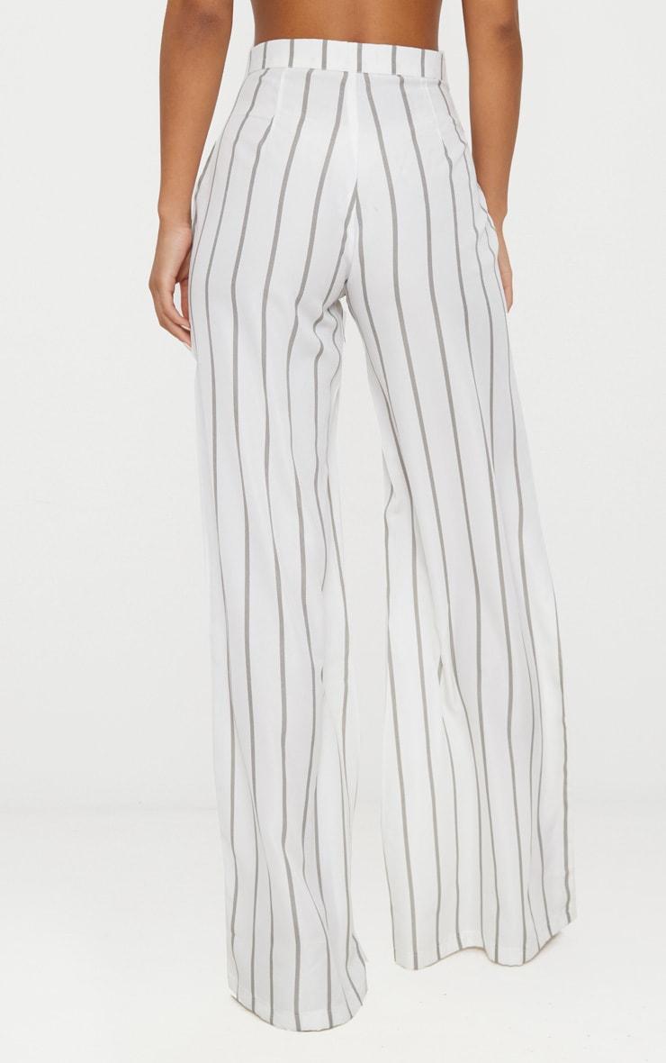 White Striped Wide Leg Trousers 3