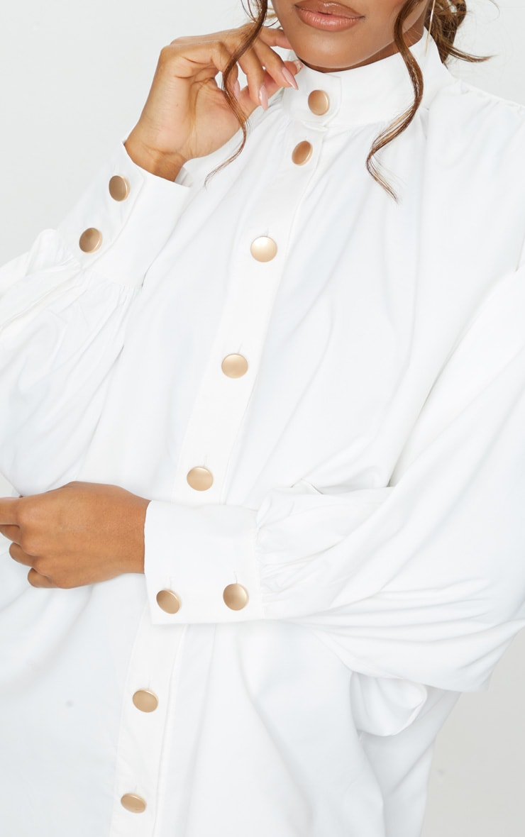 White Gold Button Detail Shirt Dress 4