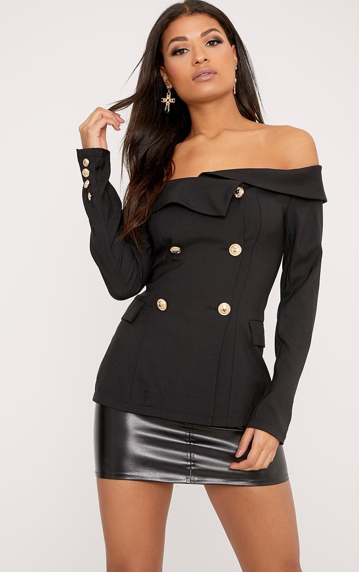 Malani Black Bardot Military Style Blazer 1
