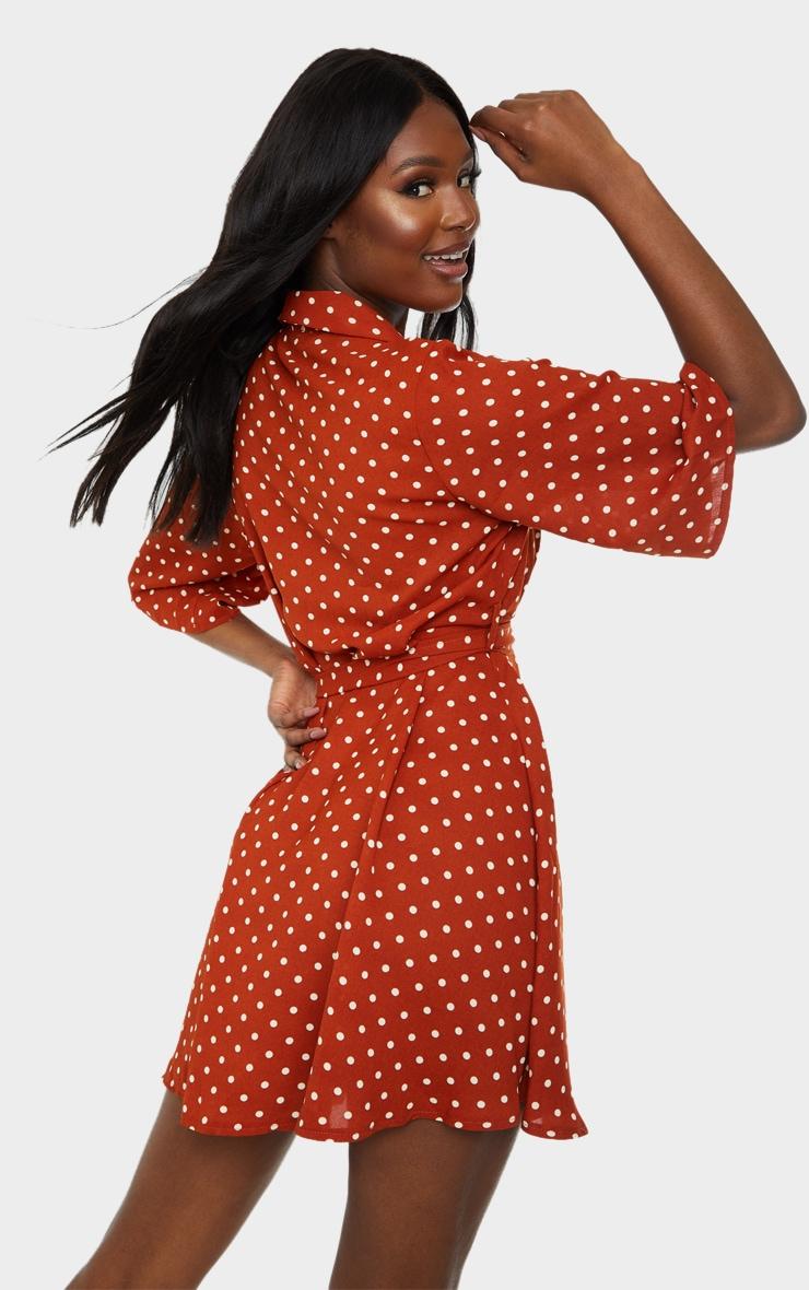 Tall Terracotta Polka Dot Tea Dress 2