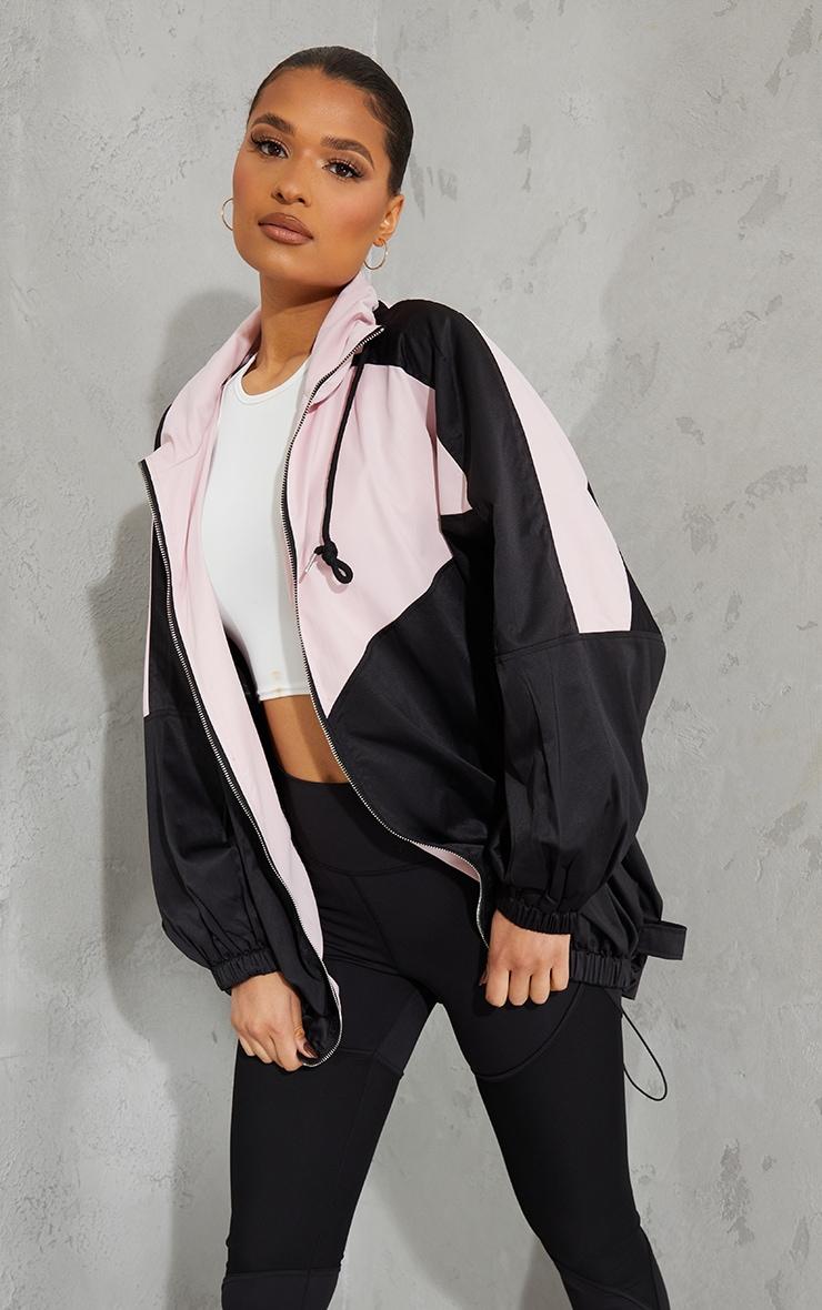 Pink Colour Block Panel Drop Arm Zip Through Jacket 3
