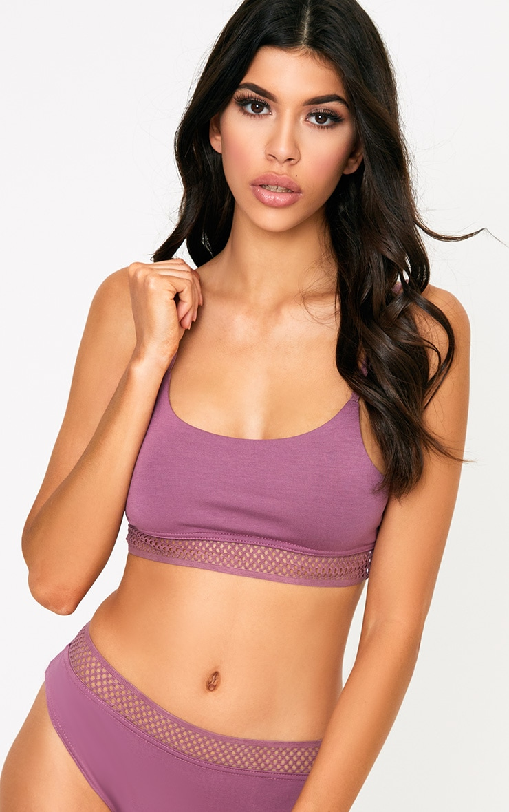 Mauve Fishnet Trim Bra 1