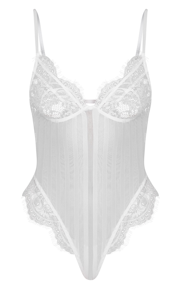 White Striped Lace Bodysuit 3