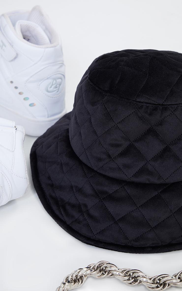 Black Quilted Velour Bucket Hat 3