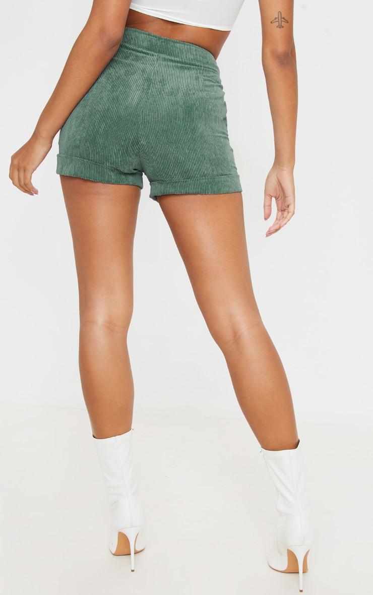 Green Cord Denim Shorts 3