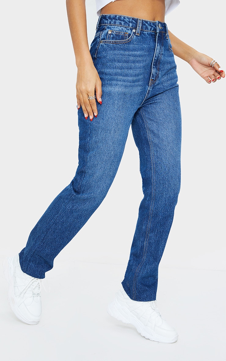 Mid Blue Wash High Waisted Straight Leg Jeans 2