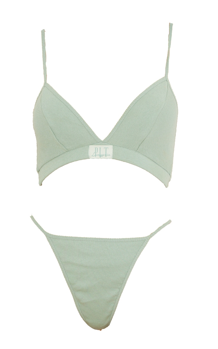 Sage Green Ribbed Badge Detail Lingerie Set 5