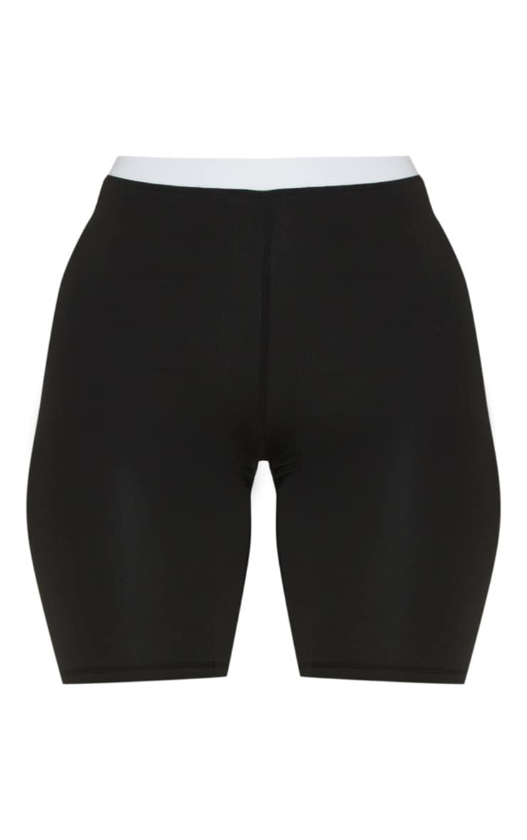 Black Contrast Waist Cycle Short 3