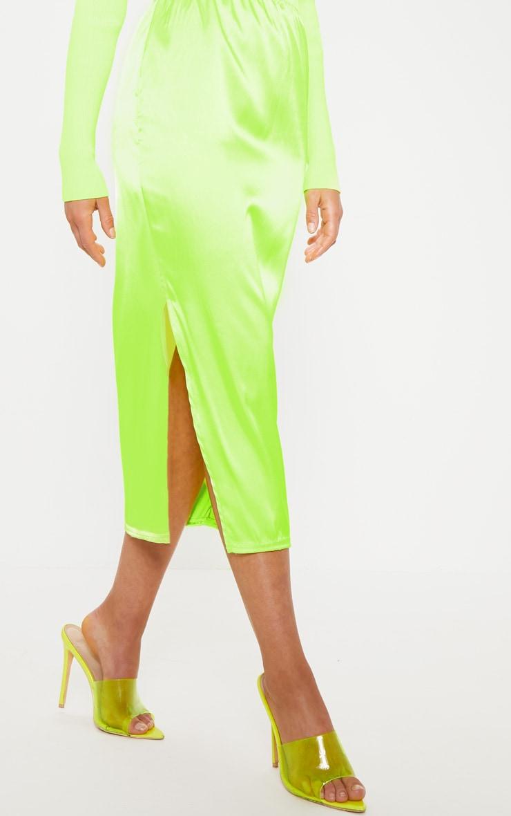 Lime Satin Side Split Midi Skirt 5