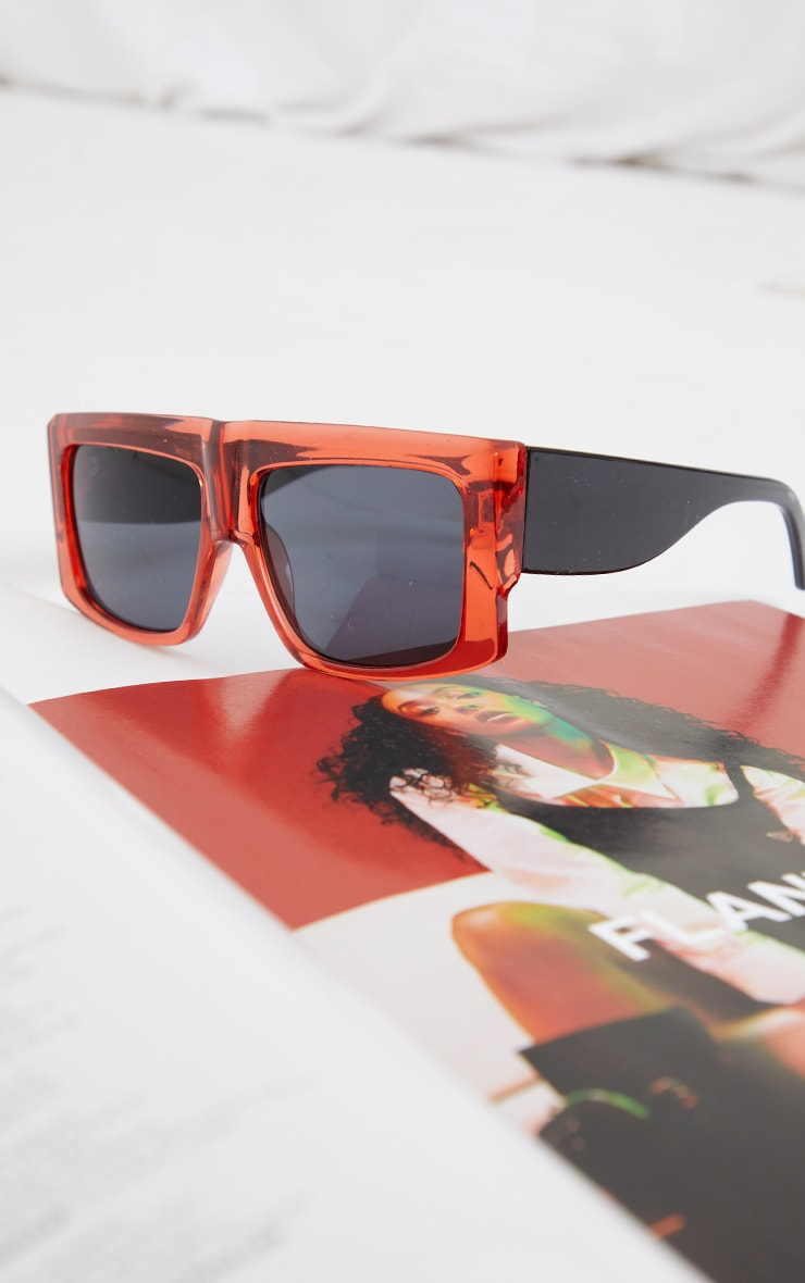 Dark Red Clear Chunky Square Frame Sunglasses 3