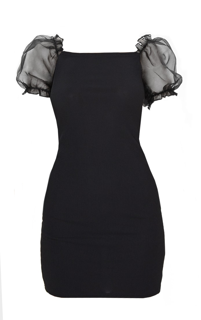 Black Organza Puff Sleeve Ribbed Bodycon Dress 3