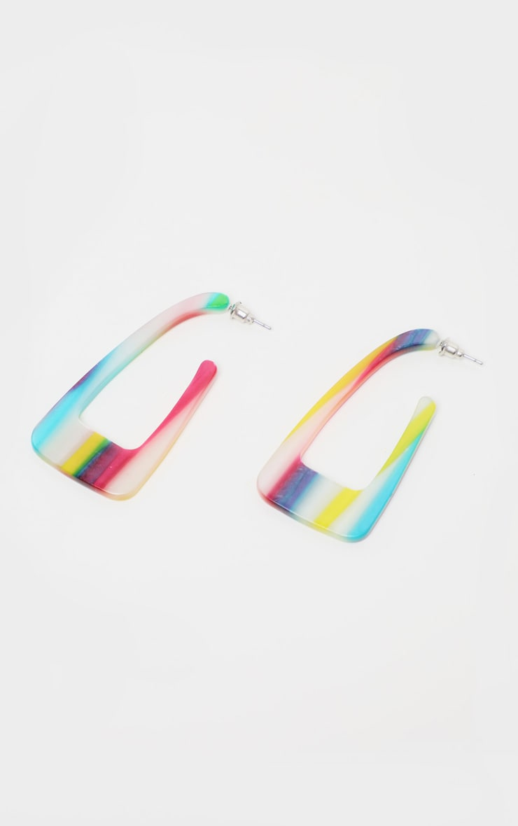 Multi Rainbow Stripe Resin Square Earrings 2