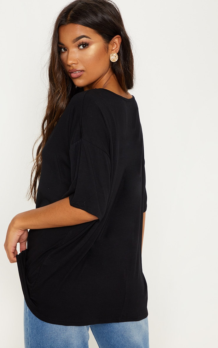 Black Plunge Lace Detail Short Sleeve Jersey T-Shirt 2