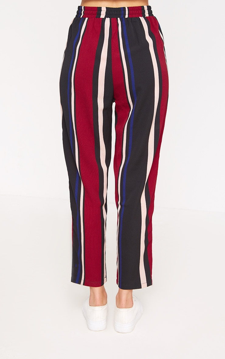 Burgundy Stripe Casual Trousers 4