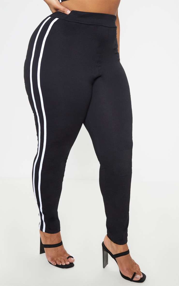 Plus Black Sports Stripe Leggings 3