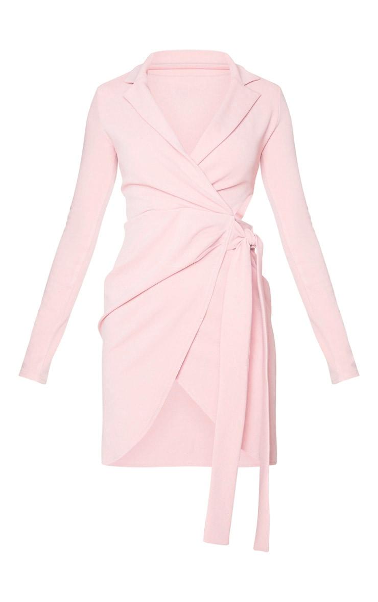 Nude Long Sleeve Tie Waist Detail Blazer Dress 5