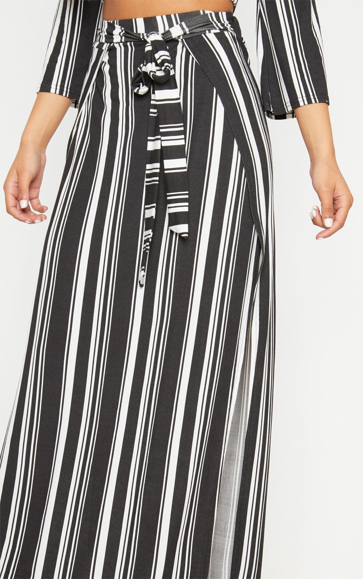 Black Jersey Extreme Split Maxi Skirt 5