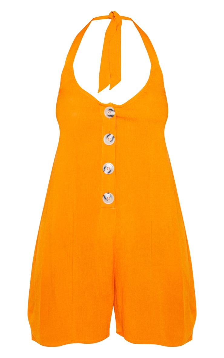 Orange Woven Halterneck Button Through Romper 3